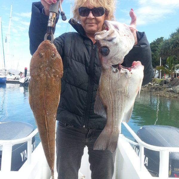 Flathead caught off Mooloolaba on a Sunshine Coast fishing charter.